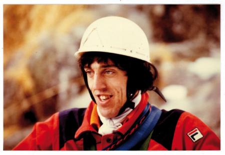 [Dante Porta: ritratti e lo stesso mentre arrampica lungo la Fessura di Budino e sul Ramtang Glacier]