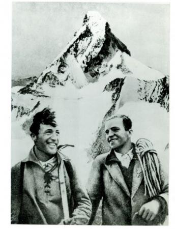 [Autore non identificato,] Franz e Tony Schmid dopo la I sulla nord del Cervino