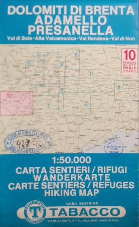 Foglio 10: Dolomiti di Brenta, Adamello, Presanella