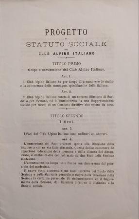 Progetto di Statuto sociale del Club alpino italiano
