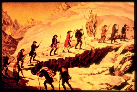 [Progressione su ghiaccio: foto storiche e moderne. Riprese varie di attrezzatura da arrampicata su ghiaccio e foto storiche di alpinisti e guide alpine]