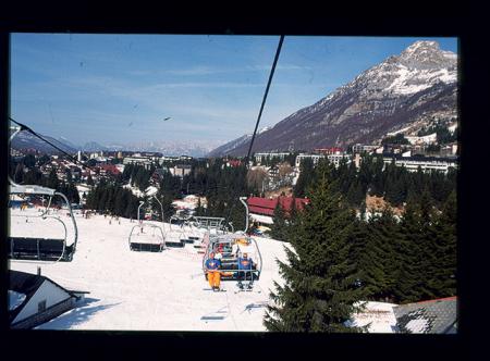 """[Riprese varie di sci di fondo, free-style, slalom gigante, seggiovia """"delle Casere"""" a Piancavallo]"""