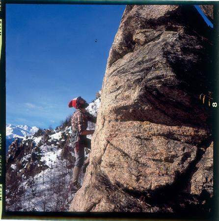 [Andrea Mellano in arrampicata. Lo stesso con Emanuele Cassarà, Christophe Profit, Armando Aste, Franco Solina]