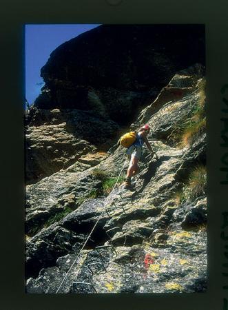 [Ferrata Bethaz-Bovard (Valgrisenche). Alpinista su cascata di ghiaccio: Miollet]
