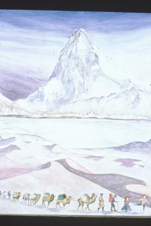 [Dipinti ad acquerello e olio raffiguranti cime montuose tra cui il versante nord del K2, il campo base dell'Everest, il Lhotse, il Mount Kun]