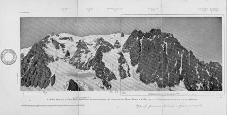 Il Monte Bianco e il Picco Luigi Amedeo, dal pianoro superiore del Ghiacciaio del Monte Bianco, a m. 3500 circa