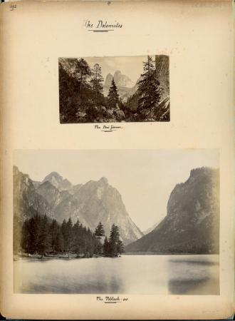 [Valle di Landro: Tre Cime di Lavaredo. Val Pusteria: Lago di Dobbiaco. Carbonin. Ampezzano: Cortina d'Ampezzo con la Tofana]