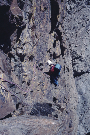 [Riprese varie di arrampicata sulla Via Vallantetics, Viso di Vallanta (Gruppo del Monviso)]
