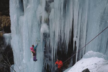 [Piemonte, Vallone di Sea, Cascata Scudo Stellare e Bava del Naufrago: alpinisti su ghiaccio]
