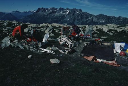 [Paesaggi e alpinisti nell'area del Bacino di Argentiere, Gruppo del Monte Bianco]
