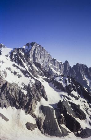[Francia, Massiccio degli Écrins, Ailefroide occidentale: bacino del Glacier Noir, Pic Sans Nom e Pic du Coup de Sabre]