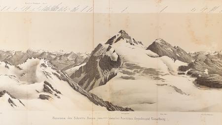 Panorama des Silvretta-Passes (3026 meter) zwischen Praettigau, Engadin und Vorarlberg
