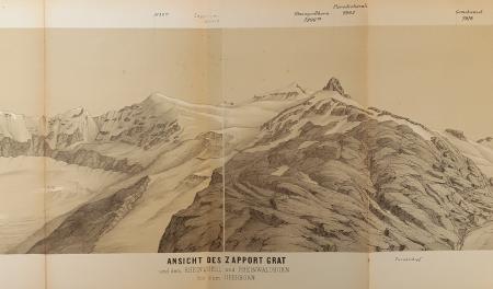 Ansicht des Zapport Grat und dem Rheinquell und Rheinwaldhorn bis zum Guferhorn