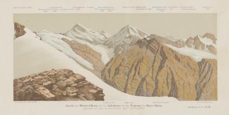 Ansicht des Rheinwaldhorns und des Güferhorns mit dem Ursprung des Hinter-Rheins