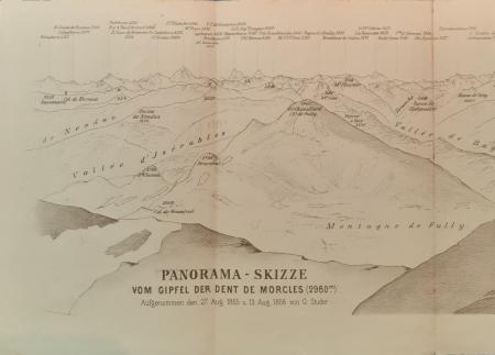 Panorama-Skizze vom Gipfel der Dent de Morcles (2980 m.)