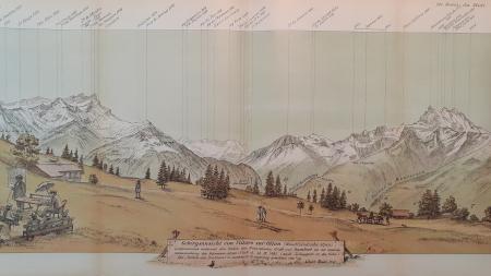 Gebirgsansicht von Villars sur Ollon (Waadtländische Alpen)