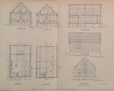 Bauplan der Egon v. Steiger-Hütte an der Lötschenlücke