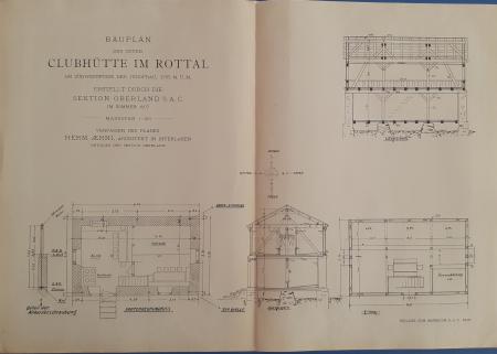 Bauplan der neuen Clubhütte im Rottal am Südwestfusse der Jungfrau, 2755 M. ü. M.