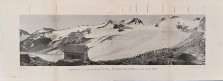 Rotondohütte der Sektion Lägern S.A.C. am Wyttenwassergletscher und Blick gegen Süden