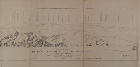 Première esquisse du panorama du sommet du Mont Blanc