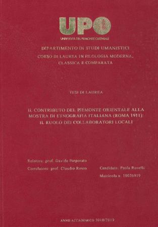 Il contributo del Piemonte orientale alla Mostra di etnografia italiana (Roma 1911)