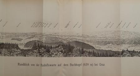 Rundblick von der Rudolfswarte auf dem Buchkogel (659 m.) bei Graz