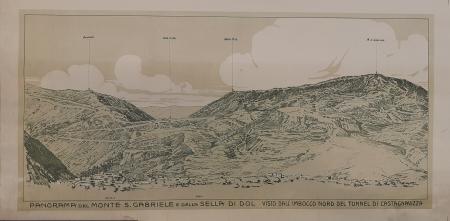 Panorama del Monte S. Gabriele e della Serra di Dol visto dall'imbocco nord del tunnel di Castagnevizza. Il Vodice visto da q. 592. Canale visto d Nekovo