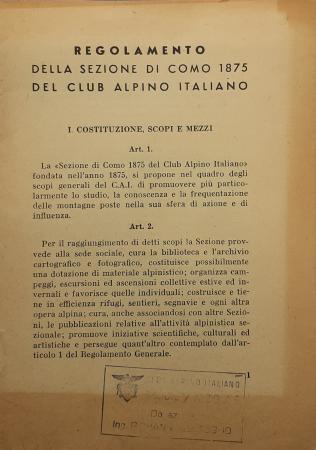 Regolamento della Sezione di Como 1875 del Club alpino italiano