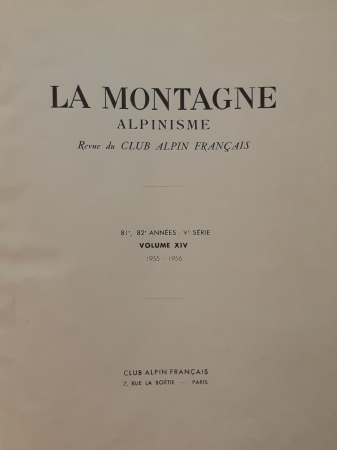 [Index de La Montagne, revue mensuelle du Club alpin français