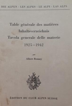 Table générale des matières pour les tomes 1. à 18. (1925-1942)