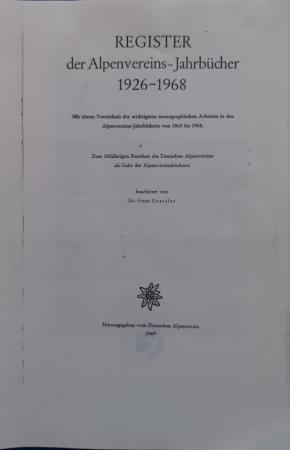 Register der Alpenvereins jahrubücher 1926-1968