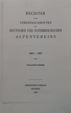 Register zu den vereinsschriften des deutschen und österreichischen alpenvereins