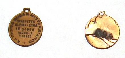 10. Trofeo Duca di Misterbianco Staffetta Alpina - Etna 18.3.1956 Medaglia ricordo