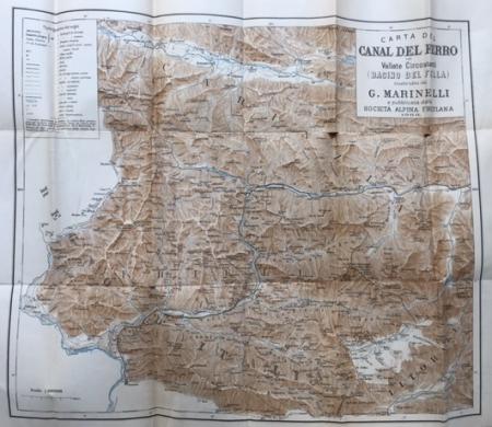 Carta del Canal del Ferro e vallate circostanti, Bacino del Fella, costruita da G. Marinelli e pubblicata dalla Società alpina delle Giulie